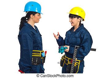 konversation, arbetare, kvinnor, ha, två