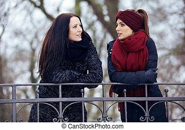 konversation, avslappnad, allvarlig, kvinnor, utomhus