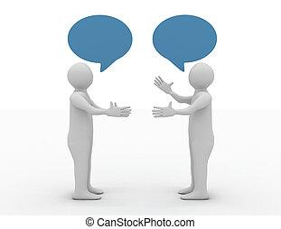 konversation, begrepp, två, bemanna