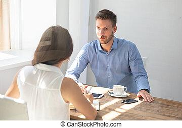 konversation, businesspeople, ha, två