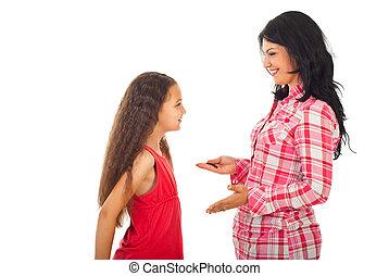 konversation, dotter, ha, mor