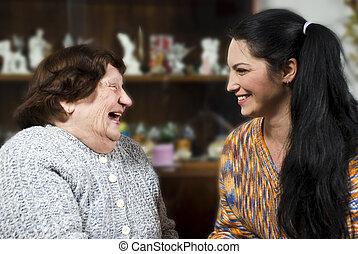 konversation, familj, lycklig