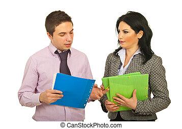 konversation, ha, affärsfolk