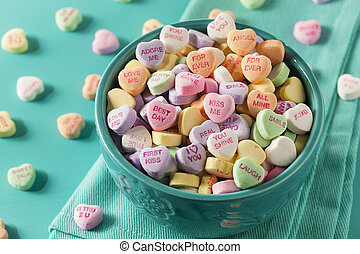konversation, hjärtan, dag, godis, valentinkort