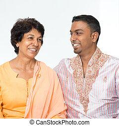 konversation, indisk, familj