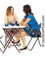 konversation, kaffe, kvinnor, två, ha