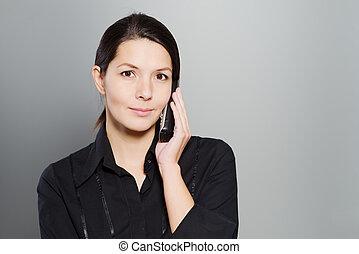 konversation, kvinna, attraktiv, lyssnande