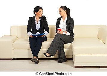konversation, kvinnor, ha, affär, två