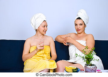 konversation, kvinnor, ha, kurort
