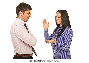 konversation, lycklig, ha, affärsverksamhet lag