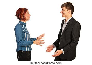 konversation, lycklig, ha, ledare