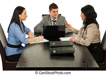 konversation, möte, ha, affärsfolk