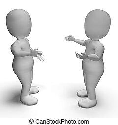 konversation, mellan, två, 3, tecken, visande, kommunikation