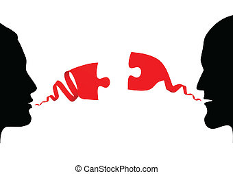 konversation, mellan, två folk