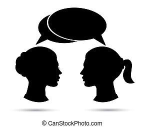 konversation, mellan, två kvinnor