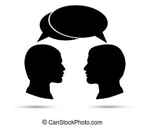 konversation, men., två, mellan