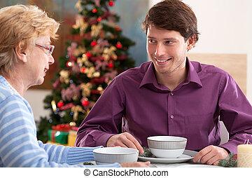 konversation, under, måltiden, släkt jul