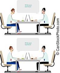 konversationer, sätta, affär