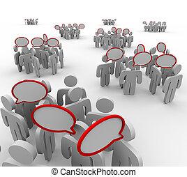konversationer, talande, audiensen, grupper, anförande, bubblar