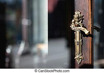 konverterat, a, handtag, på, den, dörr
