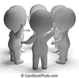 konverzace, mezi, 3, osoby, ukazuje, komunikace, a, debata