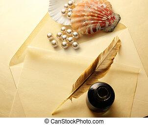 konvolut, fjer, perle