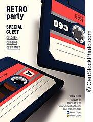 konwencja, afisz, zaproszenie, kaseta, retro, tytułowany, 80ą, partia