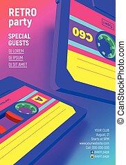 konwencja, wibrujący, afisz, tytułowany, kaseta, retro, zaproszenie, 80ą, partia