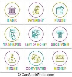 konwertor, kolor, pieniądze, portmonetka, bilety, wpłata