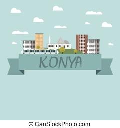 konya, 都市, ベクトル