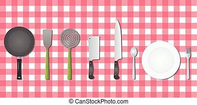 konyha, állhatatos, eszközök, eszköz, képben látható, asztal