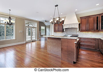 konyha, alatt, új, szerkesztés, otthon