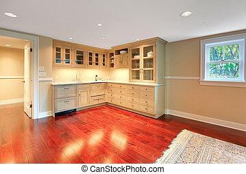 konyha, alatt, a, alagsor, közül, fényűzés, épület