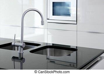 konyha, csap, és, kemence, modern, fekete-fehér