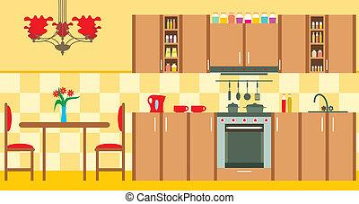 konyha, furniture., belső