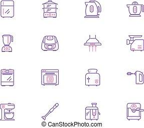 konyha, gyűjtés, eszköz, ikonok