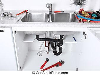 konyha mosogató, csövek, és, drain., plumbing.