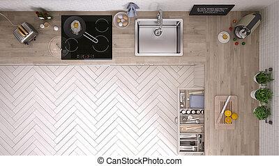 konyha, tető kilátás