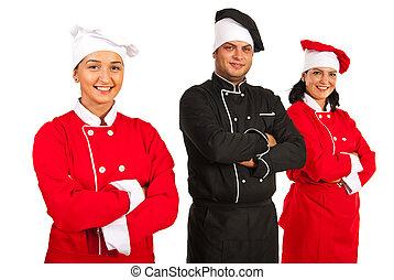 konyhafőnökök, boldog, befog