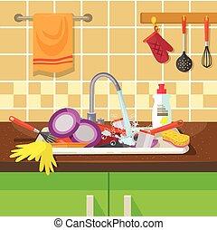 konyhai felszerelés, koszos, mosogató
