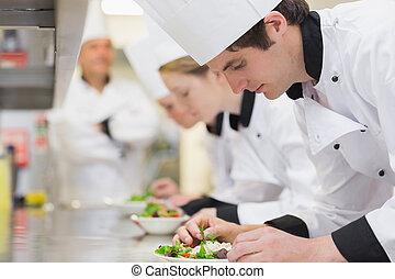 konyhai, osztály, alatt, konyha, gyártás, saláták