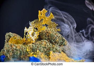 konzentrate, makro, cannabis, shatter), detail, (aka, nugs, marihuana