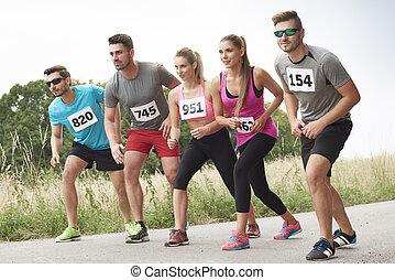 konzentration, beginnen, marathon, vorher