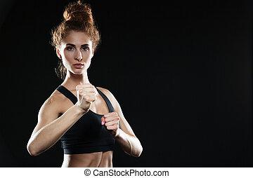 konzentriert, boxer, dame, junger, sport