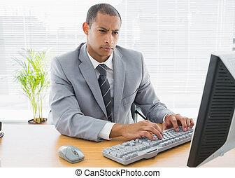 konzentriert, geschäftsmann, verwenden computers, an, buero