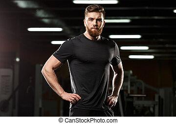 konzentriert, turnhalle, sport, posierend, mann, hübsch
