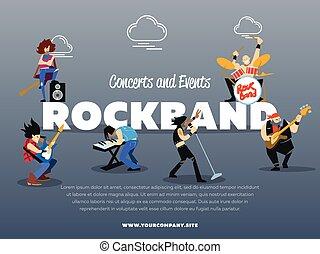 konzerte, und, ereignisse, rockband, banner