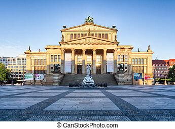 konzerthaus, alemão, gendarmenmarkt, berlim, catedral, germany., vista