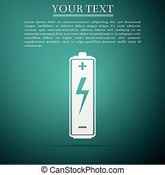 konzervativní, byt, baterie, osamocený, ilustrace, grafické pozadí., vektor, ikona, design.