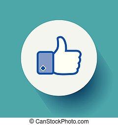 konzervativní, byt, eps10, palec up, ilustrace, grafické pozadí., design, vektor, ikona